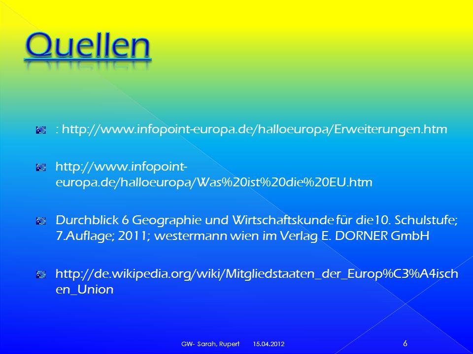: http://www.infopoint-europa.de/halloeuropa/Erweiterungen.htm http://www.infopoint- europa.de/halloeuropa/Was%20ist%20die%20EU.htm Durchblick 6 Geogr