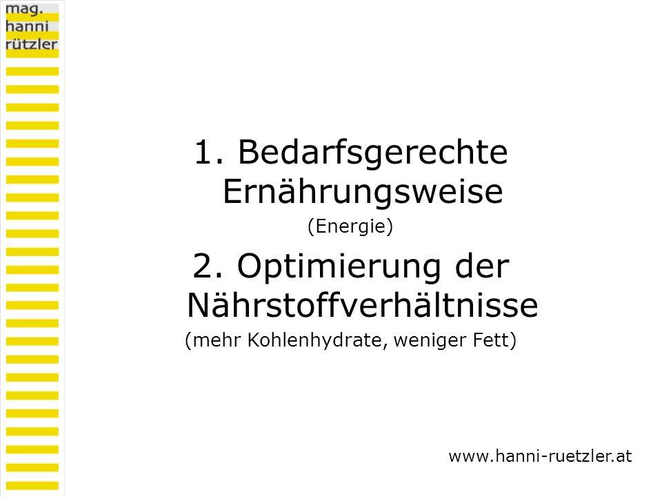 1. Bedarfsgerechte Ernährungsweise (Energie) 2. Optimierung der Nährstoffverhältnisse (mehr Kohlenhydrate, weniger Fett) www.hanni-ruetzler.at