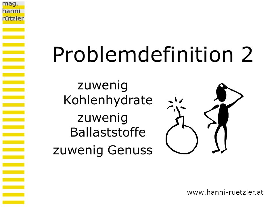 Problemdefinition 2 zuwenig Kohlenhydrate zuwenig Ballaststoffe zuwenig Genuss www.hanni-ruetzler.at
