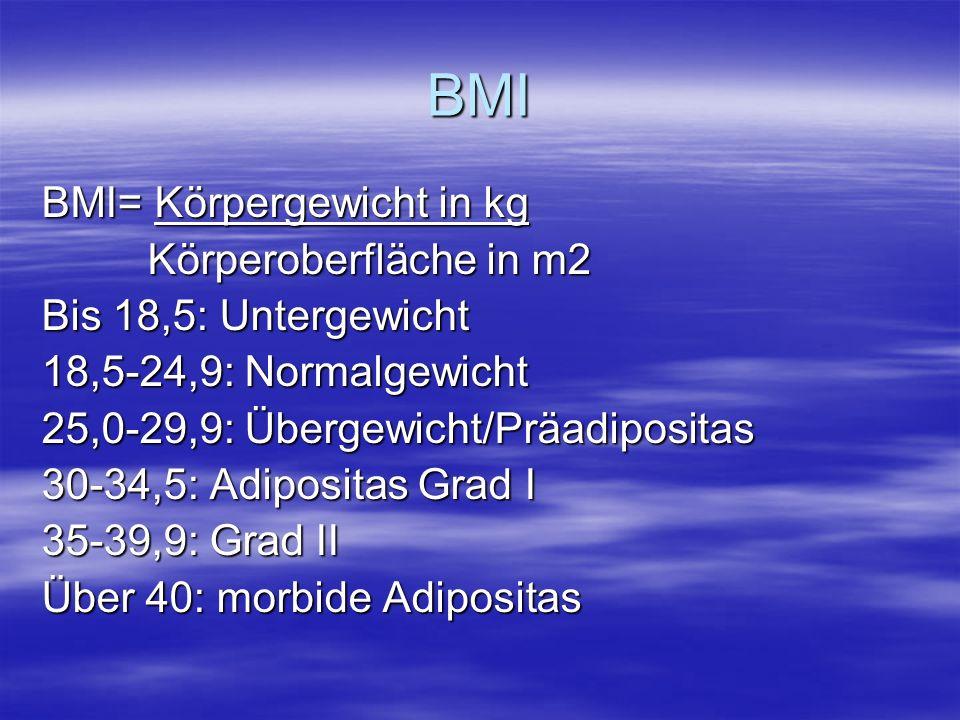 BMI BMI= Körpergewicht in kg Körperoberfläche in m2 Körperoberfläche in m2 Bis 18,5: Untergewicht 18,5-24,9: Normalgewicht 25,0-29,9: Übergewicht/Präadipositas 30-34,5: Adipositas Grad I 35-39,9: Grad II Über 40: morbide Adipositas
