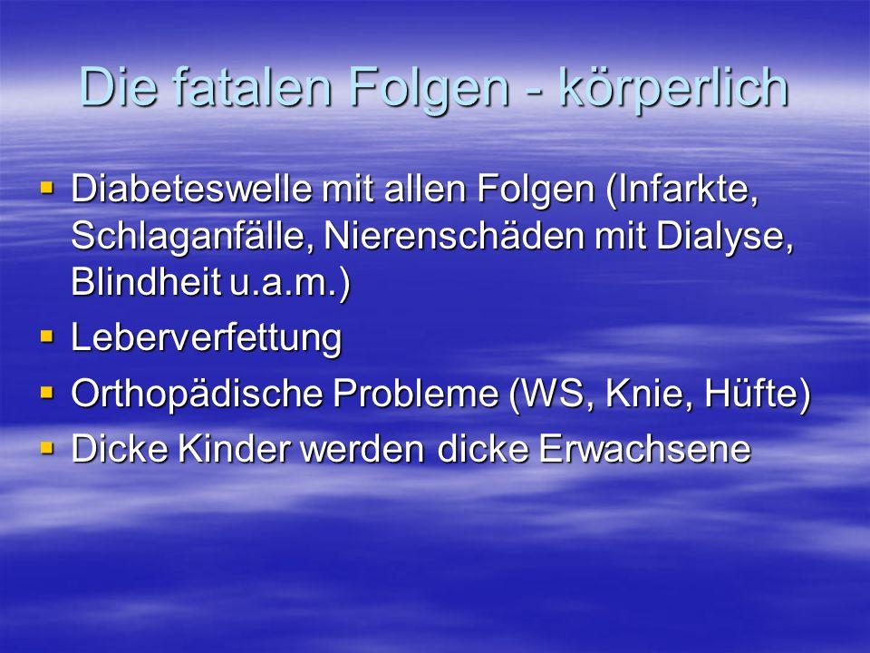 Die fatalen Folgen - körperlich Diabeteswelle mit allen Folgen (Infarkte, Schlaganfälle, Nierenschäden mit Dialyse, Blindheit u.a.m.) Diabeteswelle mit allen Folgen (Infarkte, Schlaganfälle, Nierenschäden mit Dialyse, Blindheit u.a.m.) Leberverfettung Leberverfettung Orthopädische Probleme (WS, Knie, Hüfte) Orthopädische Probleme (WS, Knie, Hüfte) Dicke Kinder werden dicke Erwachsene Dicke Kinder werden dicke Erwachsene