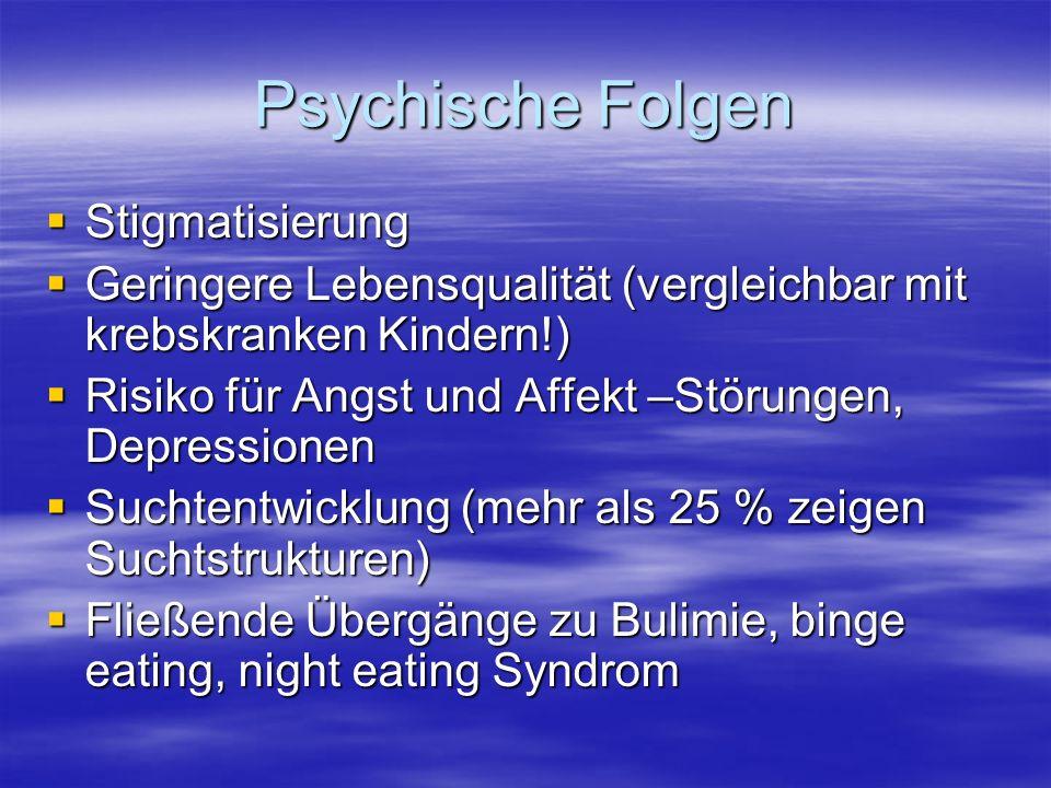Psychische Folgen Stigmatisierung Stigmatisierung Geringere Lebensqualität (vergleichbar mit krebskranken Kindern!) Geringere Lebensqualität (vergleichbar mit krebskranken Kindern!) Risiko für Angst und Affekt –Störungen, Depressionen Risiko für Angst und Affekt –Störungen, Depressionen Suchtentwicklung (mehr als 25 % zeigen Suchtstrukturen) Suchtentwicklung (mehr als 25 % zeigen Suchtstrukturen) Fließende Übergänge zu Bulimie, binge eating, night eating Syndrom Fließende Übergänge zu Bulimie, binge eating, night eating Syndrom