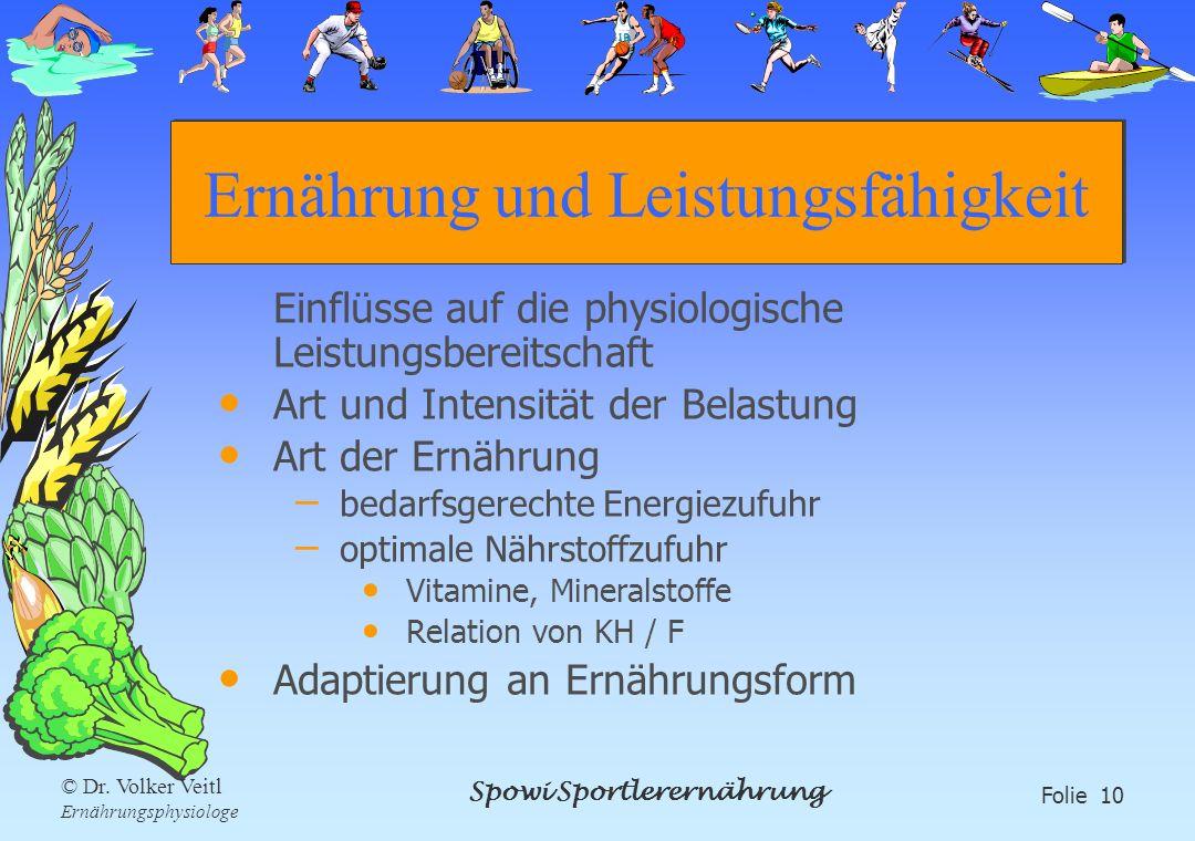 Spowi Sportlerernährung Folie 10 © Dr. Volker Veitl Ernährungsphysiologe Ernährung und Leistungsfähigkeit Einflüsse auf die physiologische Leistungsbe