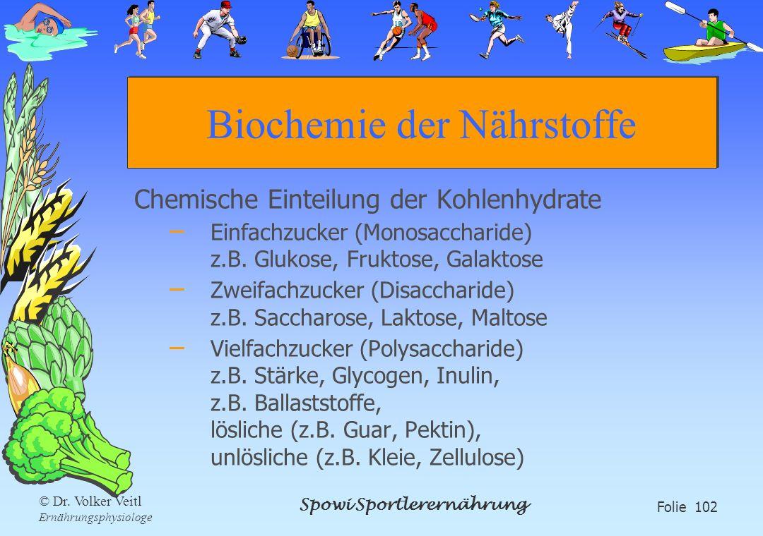 Spowi Sportlerernährung Folie 102 © Dr. Volker Veitl Ernährungsphysiologe Biochemie der Nährstoffe Chemische Einteilung der Kohlenhydrate – Einfachzuc