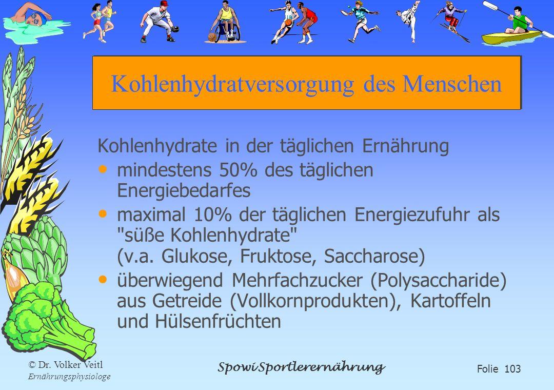 Spowi Sportlerernährung Folie 103 © Dr. Volker Veitl Ernährungsphysiologe Kohlenhydratversorgung des Menschen Kohlenhydrate in der täglichen Ernährung