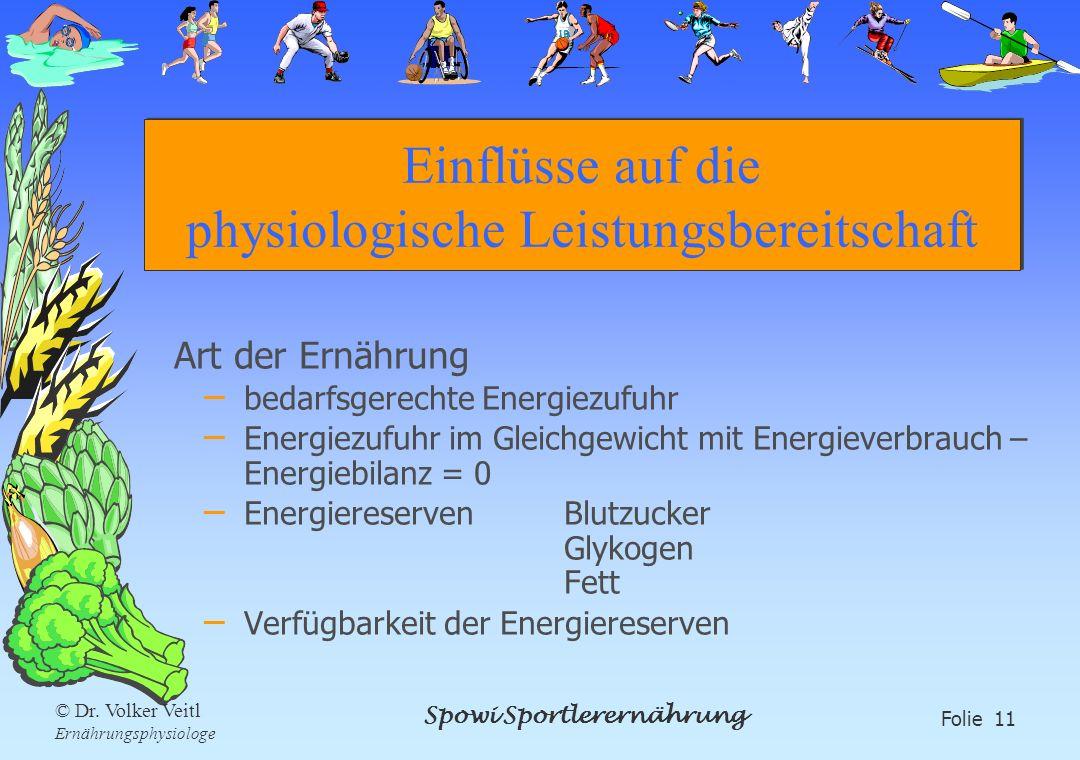 Spowi Sportlerernährung Folie 11 © Dr. Volker Veitl Ernährungsphysiologe Einflüsse auf die physiologische Leistungsbereitschaft Art der Ernährung – be
