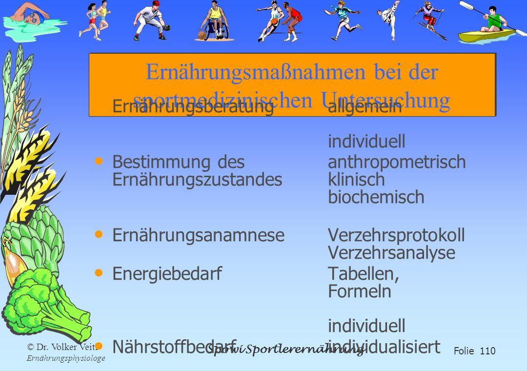 Spowi Sportlerernährung Folie 110 © Dr. Volker Veitl Ernährungsphysiologe Ernährungsmaßnahmen bei der sportmedizinischen Untersuchung Ernährungsberatu