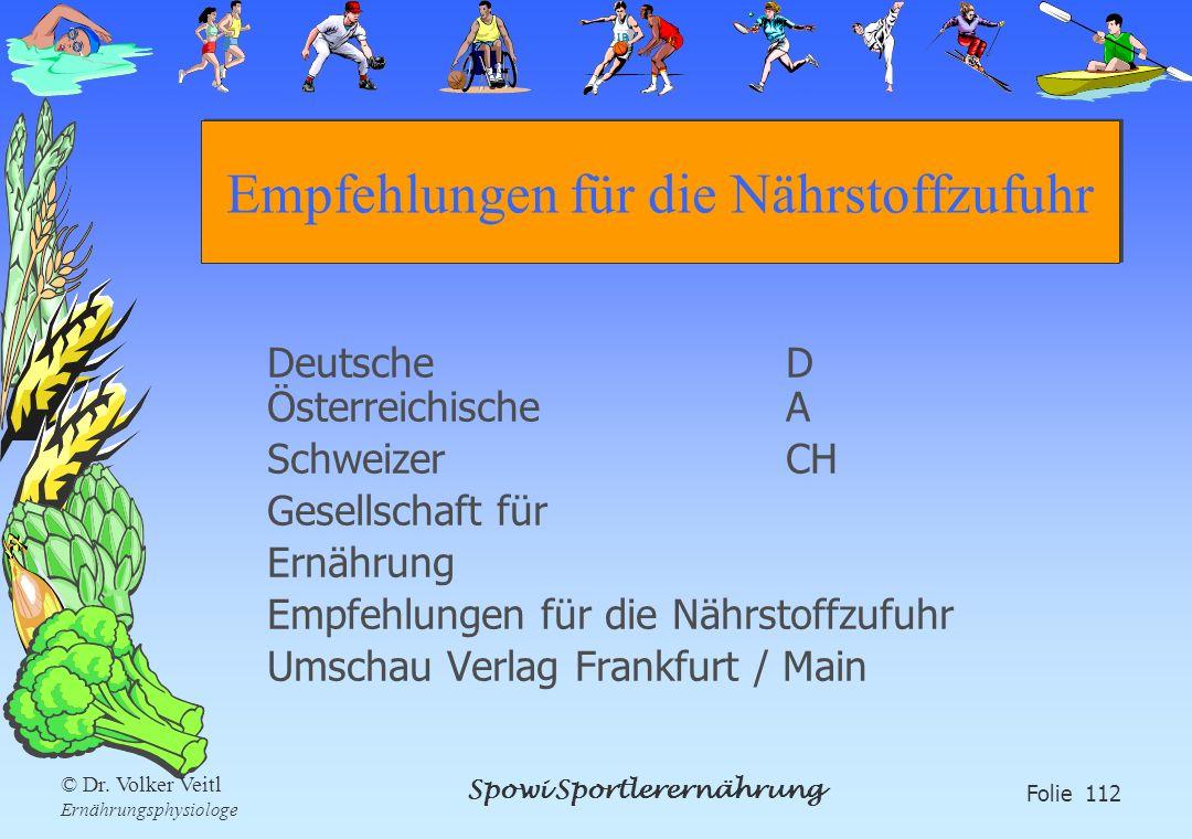 Spowi Sportlerernährung Folie 112 © Dr. Volker Veitl Ernährungsphysiologe Empfehlungen für die Nährstoffzufuhr DeutscheD ÖsterreichischeA SchweizerCH