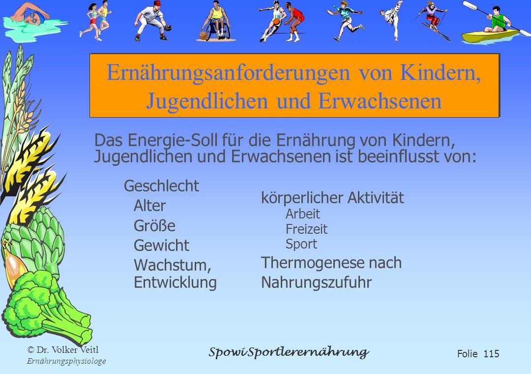 Spowi Sportlerernährung Folie 115 © Dr. Volker Veitl Ernährungsphysiologe Ernährungsanforderungen von Kindern, Jugendlichen und Erwachsenen Geschlecht