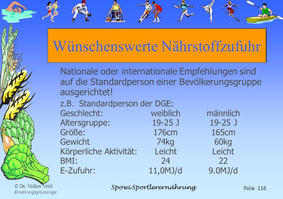 Spowi Sportlerernährung Folie 116 © Dr. Volker Veitl Ernährungsphysiologe Wünschenswerte Nährstoffzufuhr Nationale oder internationale Empfehlungen si
