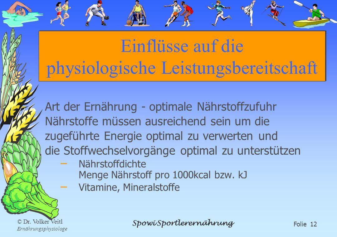 Spowi Sportlerernährung Folie 12 © Dr. Volker Veitl Ernährungsphysiologe Einflüsse auf die physiologische Leistungsbereitschaft Art der Ernährung - op