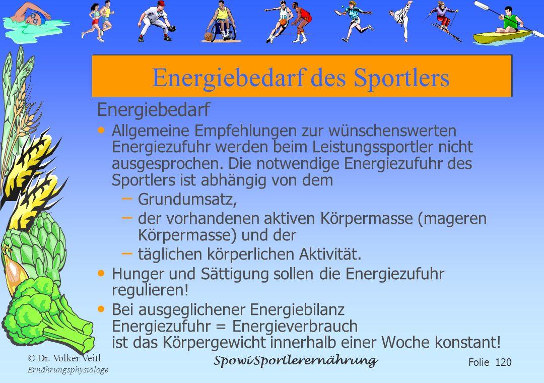 Spowi Sportlerernährung Folie 120 © Dr. Volker Veitl Ernährungsphysiologe Energiebedarf des Sportlers Energiebedarf Allgemeine Empfehlungen zur wünsch