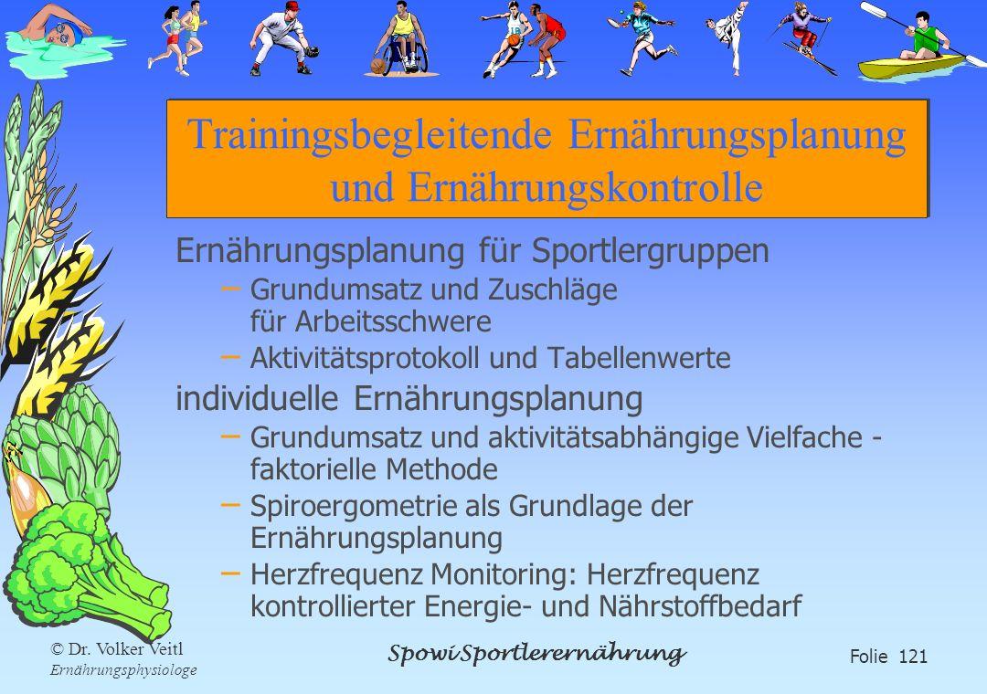 Spowi Sportlerernährung Folie 121 © Dr. Volker Veitl Ernährungsphysiologe Trainingsbegleitende Ernährungsplanung und Ernährungskontrolle Ernährungspla