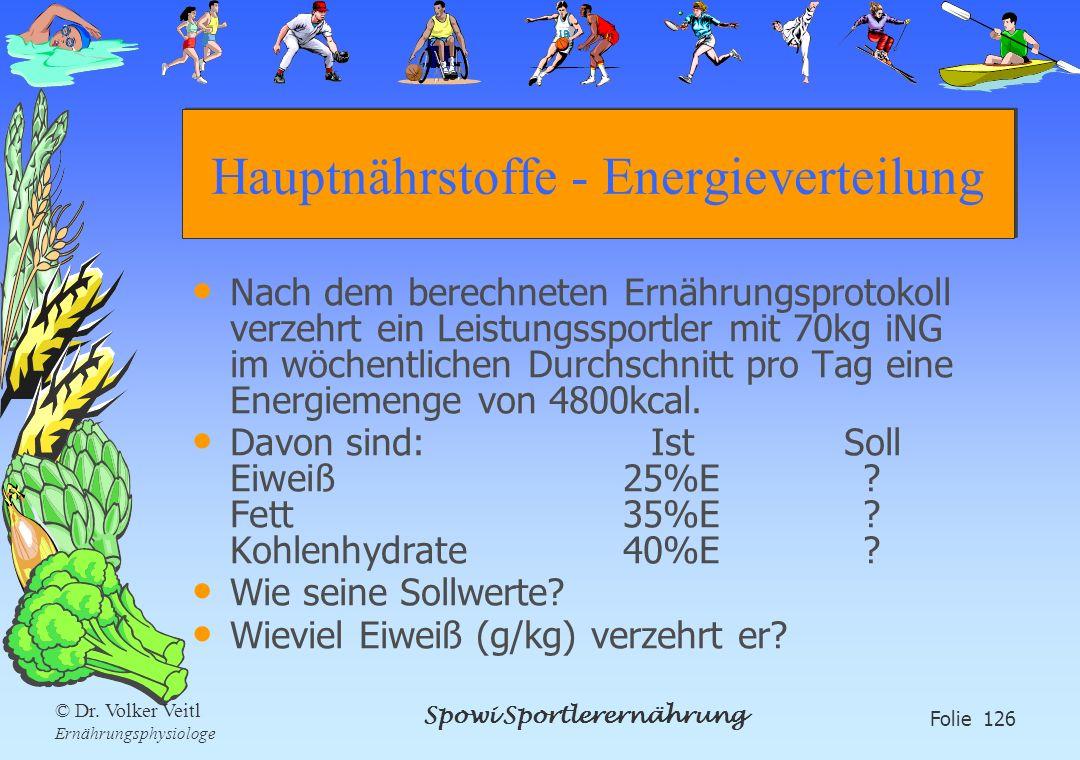 Spowi Sportlerernährung Folie 126 © Dr. Volker Veitl Ernährungsphysiologe Hauptnährstoffe - Energieverteilung Nach dem berechneten Ernährungsprotokoll
