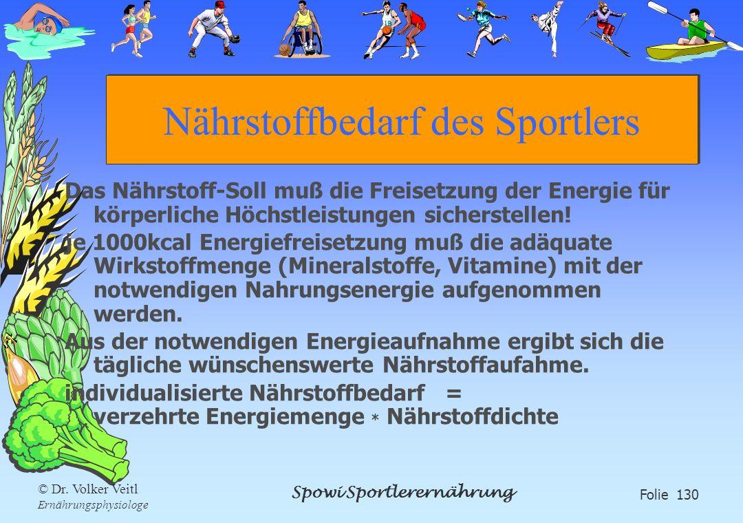 Spowi Sportlerernährung Folie 130 © Dr. Volker Veitl Ernährungsphysiologe Nährstoffbedarf des Sportlers Das Nährstoff-Soll muß die Freisetzung der Ene
