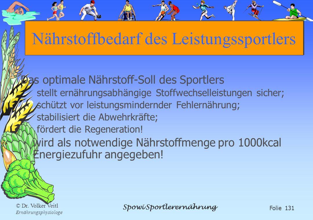Spowi Sportlerernährung Folie 131 © Dr. Volker Veitl Ernährungsphysiologe Nährstoffbedarf des Leistungssportlers Das optimale Nährstoff-Soll des Sport
