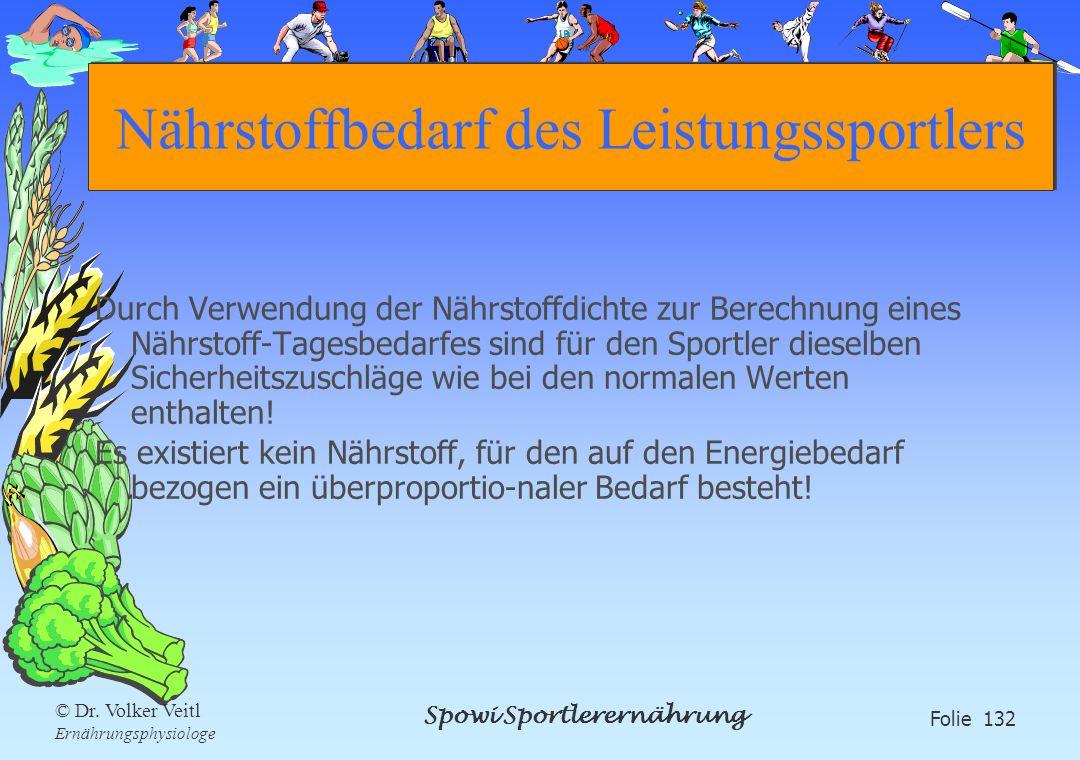 Spowi Sportlerernährung Folie 132 © Dr. Volker Veitl Ernährungsphysiologe Nährstoffbedarf des Leistungssportlers Durch Verwendung der Nährstoffdichte