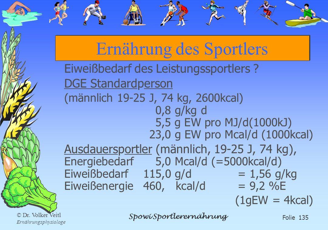 Spowi Sportlerernährung Folie 135 © Dr. Volker Veitl Ernährungsphysiologe Ernährung des Sportlers Eiweißbedarf des Leistungssportlers ? DGE Standardpe