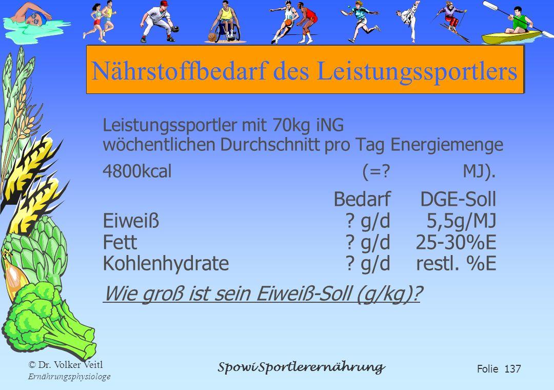 Spowi Sportlerernährung Folie 137 © Dr. Volker Veitl Ernährungsphysiologe Nährstoffbedarf des Leistungssportlers Leistungssportler mit 70kg iNG wöchen