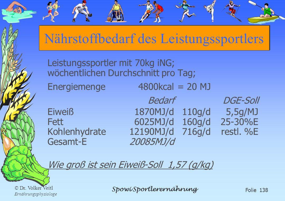 Spowi Sportlerernährung Folie 138 © Dr. Volker Veitl Ernährungsphysiologe Nährstoffbedarf des Leistungssportlers Leistungssportler mit 70kg iNG; wöche