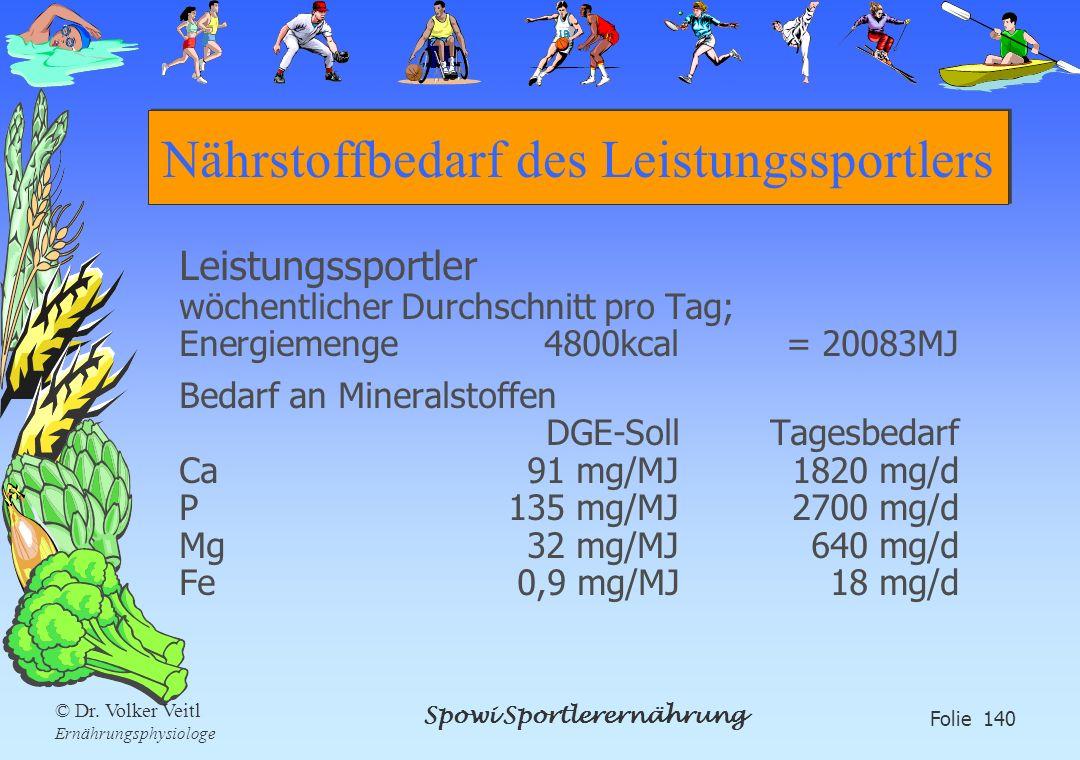 Spowi Sportlerernährung Folie 140 © Dr. Volker Veitl Ernährungsphysiologe Nährstoffbedarf des Leistungssportlers Leistungssportler wöchentlicher Durch
