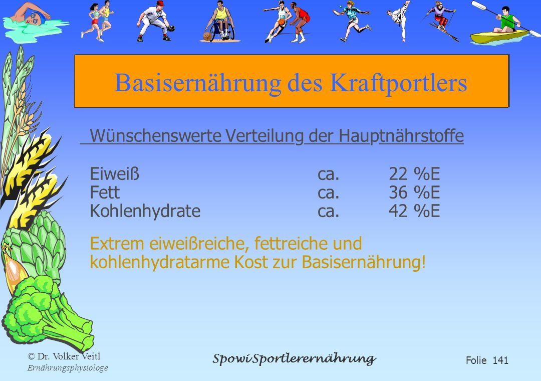 Spowi Sportlerernährung Folie 141 © Dr. Volker Veitl Ernährungsphysiologe Basisernährung des Kraftportlers Wünschenswerte Verteilung der Hauptnährstof