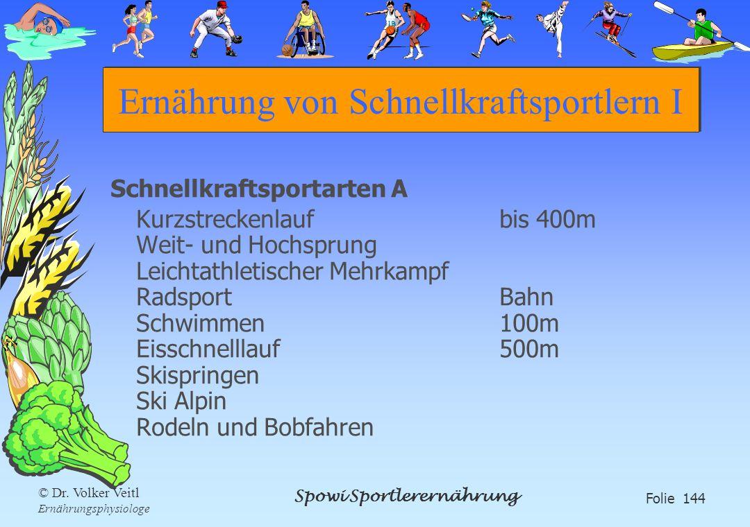 Spowi Sportlerernährung Folie 144 © Dr. Volker Veitl Ernährungsphysiologe Ernährung von Schnellkraftsportlern I Schnellkraftsportarten A Kurzstreckenl