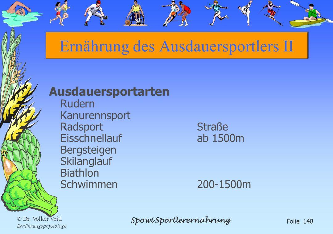 Spowi Sportlerernährung Folie 148 © Dr. Volker Veitl Ernährungsphysiologe Ernährung des Ausdauersportlers II Ausdauersportarten Rudern Kanurennsport R