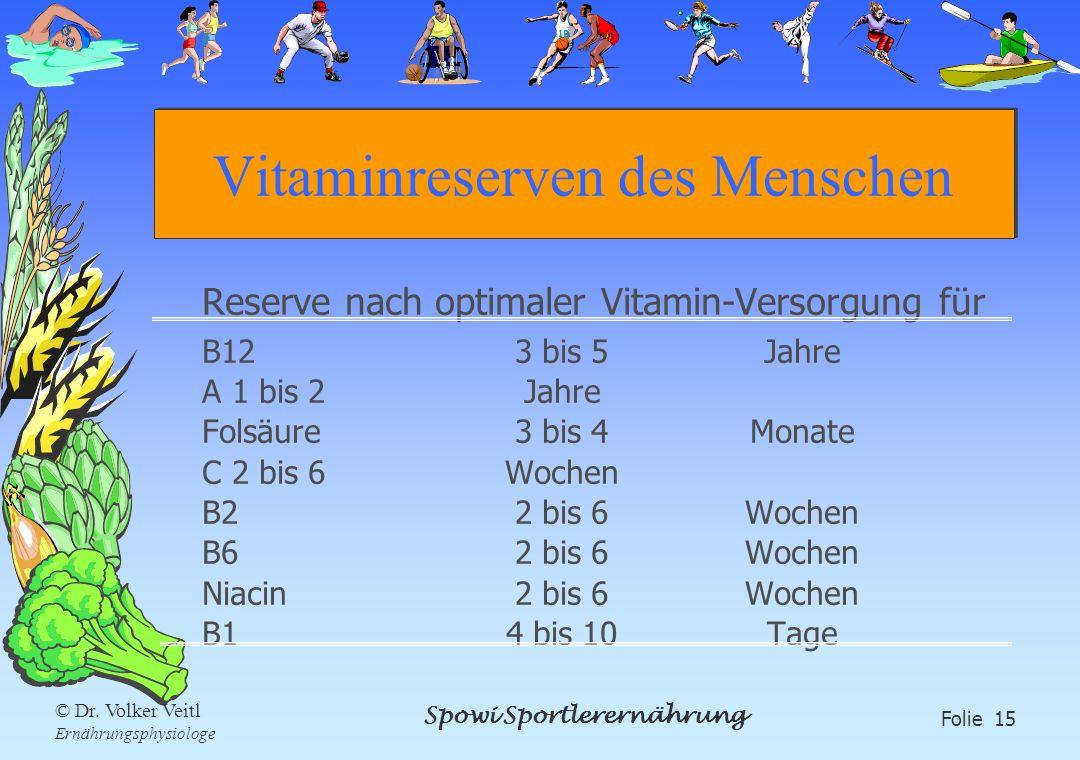 Spowi Sportlerernährung Folie 15 © Dr. Volker Veitl Ernährungsphysiologe Vitaminreserven des Menschen Reserve nach optimaler Vitamin-Versorgung für B1