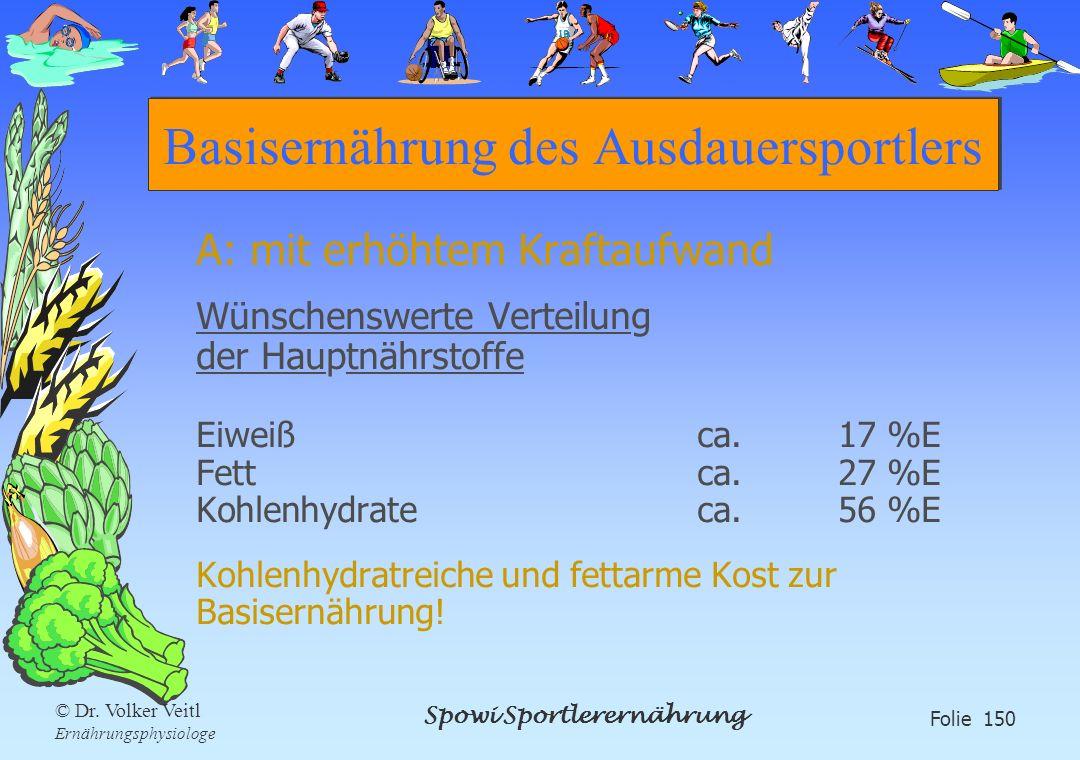 Spowi Sportlerernährung Folie 150 © Dr. Volker Veitl Ernährungsphysiologe Basisernährung des Ausdauersportlers A: mit erhöhtem Kraftaufwand Wünschensw