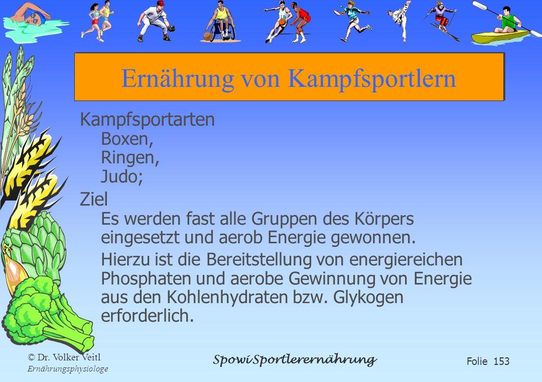 Spowi Sportlerernährung Folie 153 © Dr. Volker Veitl Ernährungsphysiologe Ernährung von Kampfsportlern Kampfsportarten Boxen, Ringen, Judo; Ziel Es we