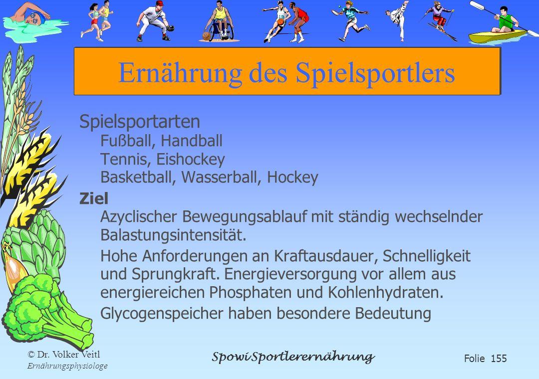 Spowi Sportlerernährung Folie 155 © Dr. Volker Veitl Ernährungsphysiologe Ernährung des Spielsportlers Spielsportarten Fußball, Handball Tennis, Eisho
