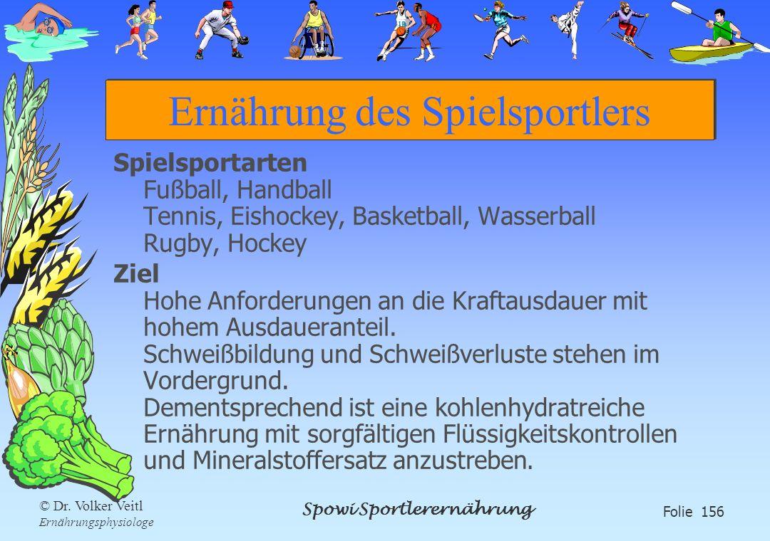 Spowi Sportlerernährung Folie 156 © Dr. Volker Veitl Ernährungsphysiologe Ernährung des Spielsportlers Spielsportarten Fußball, Handball Tennis, Eisho