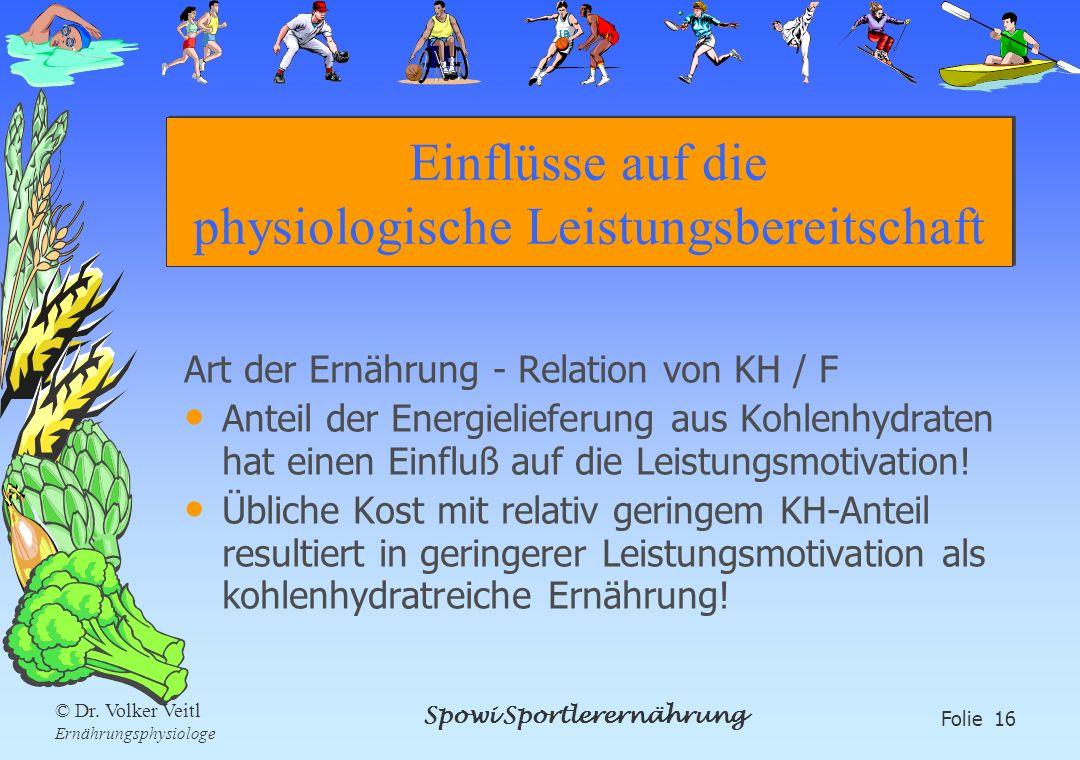 Spowi Sportlerernährung Folie 16 © Dr. Volker Veitl Ernährungsphysiologe Einflüsse auf die physiologische Leistungsbereitschaft Art der Ernährung - Re
