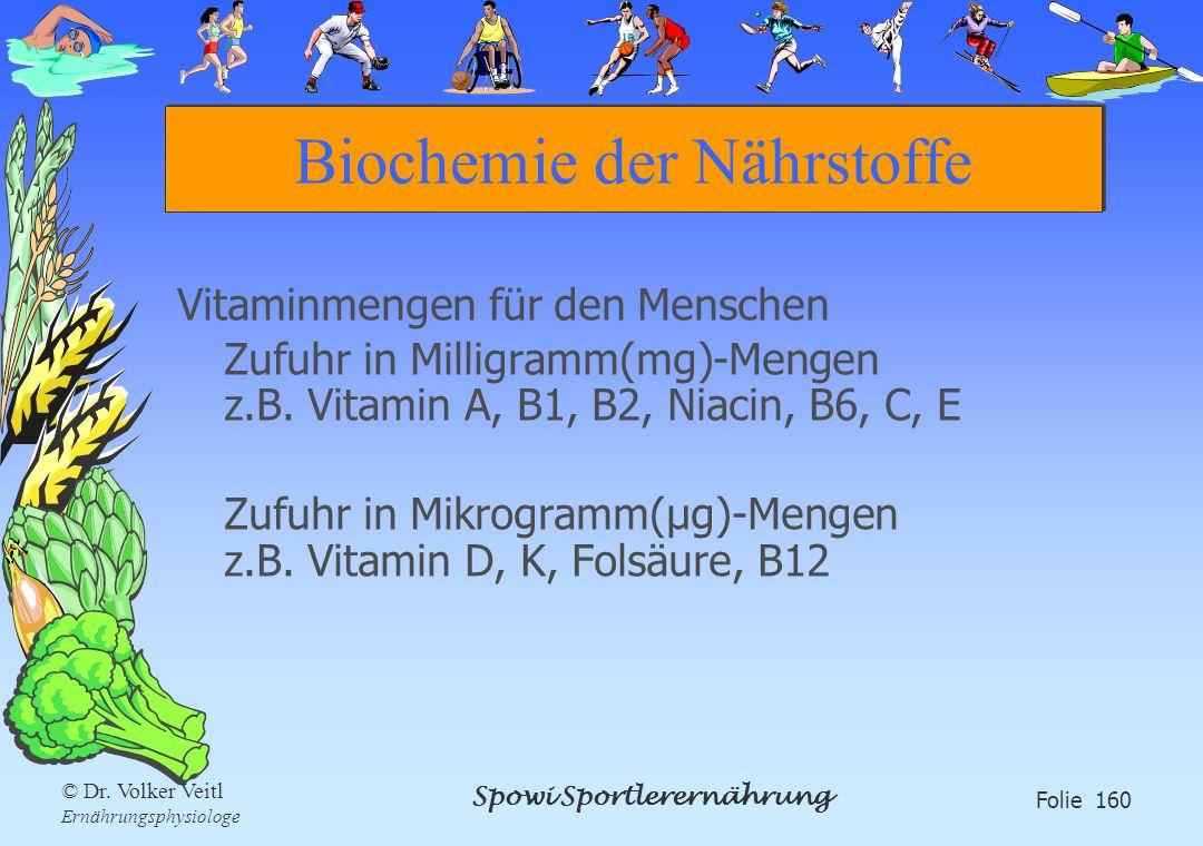 Spowi Sportlerernährung Folie 160 © Dr. Volker Veitl Ernährungsphysiologe Biochemie der Nährstoffe Vitaminmengen für den Menschen Zufuhr in Milligramm