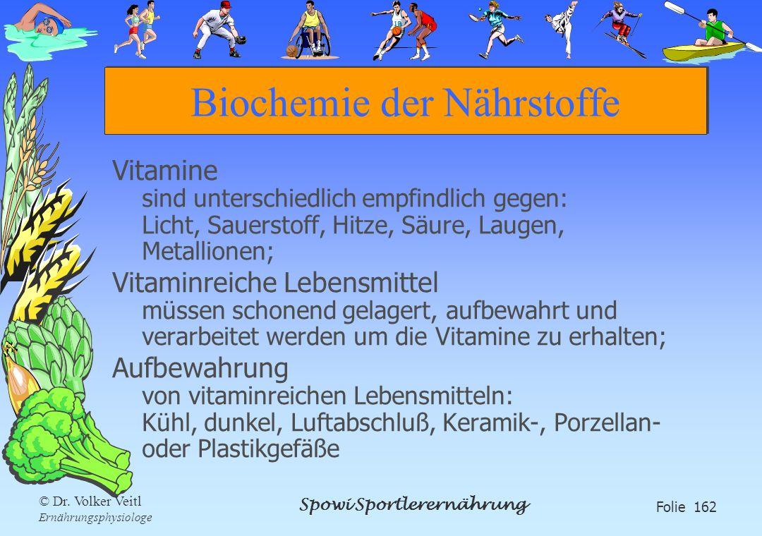 Spowi Sportlerernährung Folie 162 © Dr. Volker Veitl Ernährungsphysiologe Biochemie der Nährstoffe Vitamine sind unterschiedlich empfindlich gegen: Li