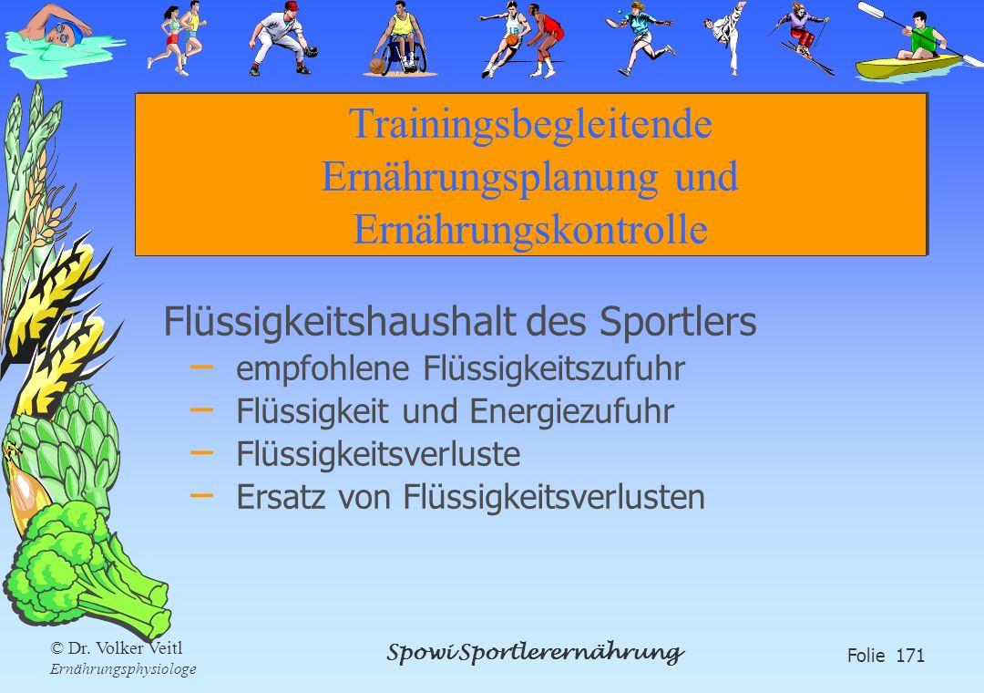Spowi Sportlerernährung Folie 171 © Dr. Volker Veitl Ernährungsphysiologe Trainingsbegleitende Ernährungsplanung und Ernährungskontrolle Flüssigkeitsh