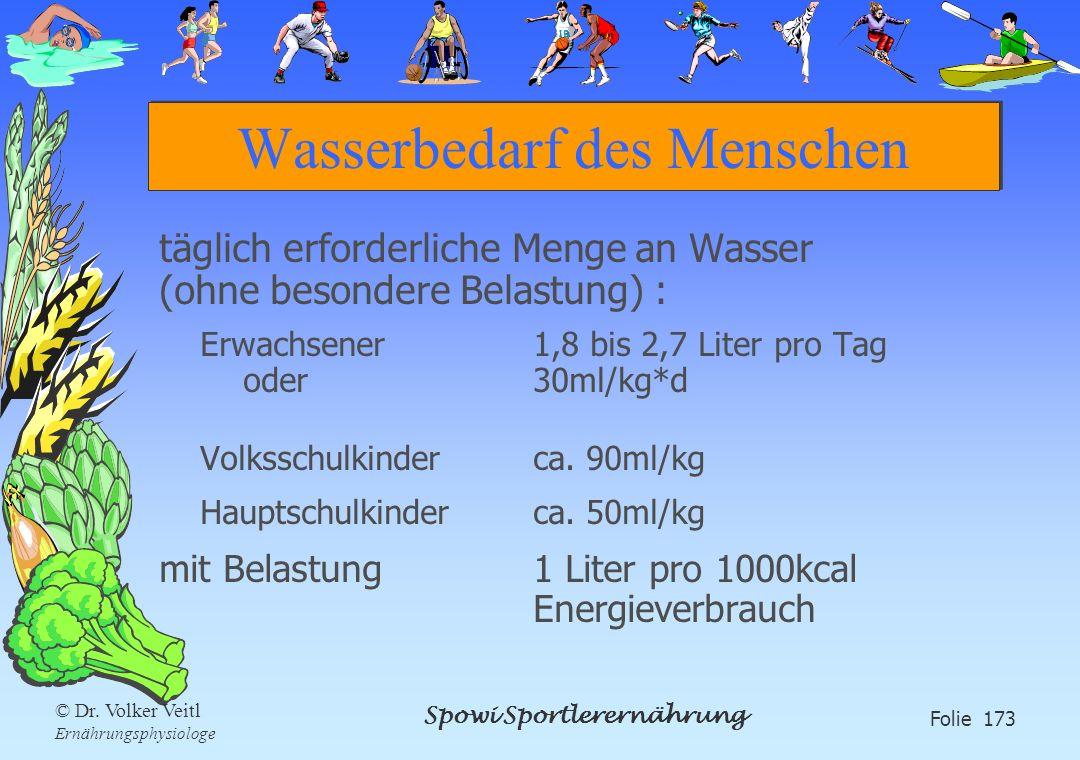Spowi Sportlerernährung Folie 173 © Dr. Volker Veitl Ernährungsphysiologe Wasserbedarf des Menschen täglich erforderliche Menge an Wasser (ohne besond