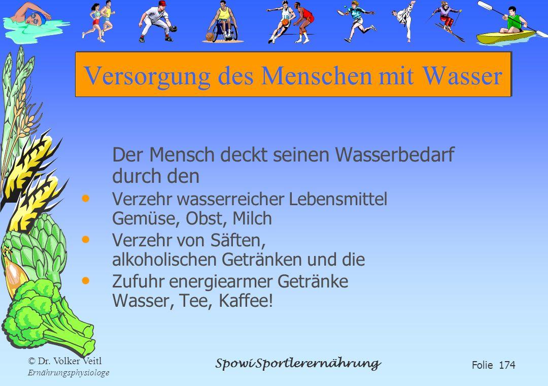 Spowi Sportlerernährung Folie 174 © Dr. Volker Veitl Ernährungsphysiologe Versorgung des Menschen mit Wasser Der Mensch deckt seinen Wasserbedarf durc