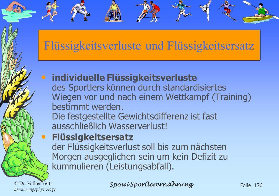 Spowi Sportlerernährung Folie 176 © Dr. Volker Veitl Ernährungsphysiologe Flüssigkeitsverluste und Flüssigkeitsersatz individuelle Flüssigkeitsverlust