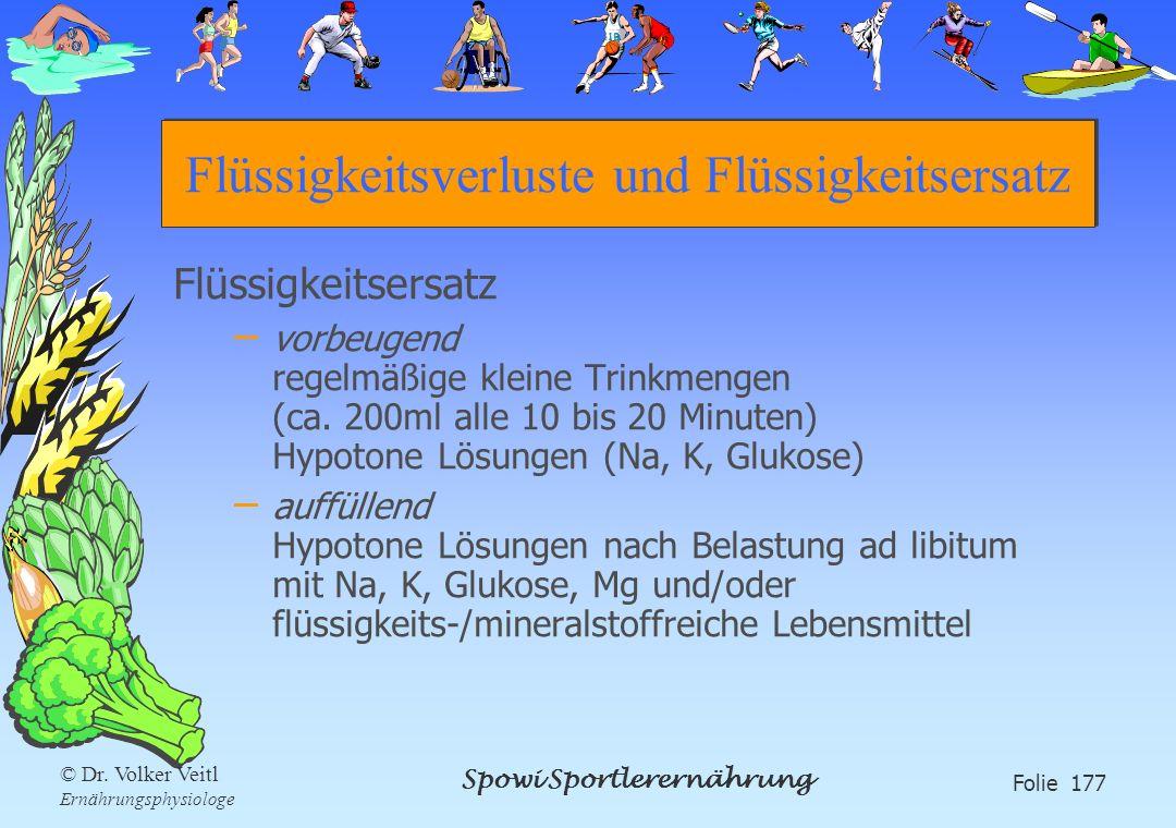Spowi Sportlerernährung Folie 177 © Dr. Volker Veitl Ernährungsphysiologe Flüssigkeitsverluste und Flüssigkeitsersatz Flüssigkeitsersatz – vorbeugend