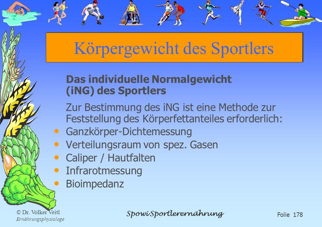 Spowi Sportlerernährung Folie 178 © Dr. Volker Veitl Ernährungsphysiologe Körpergewicht des Sportlers Das individuelle Normalgewicht (iNG) des Sportle