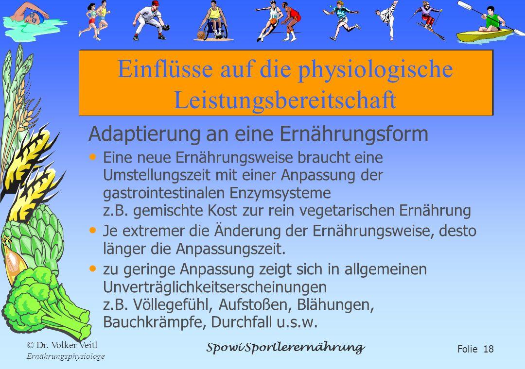 Spowi Sportlerernährung Folie 18 © Dr. Volker Veitl Ernährungsphysiologe Einflüsse auf die physiologische Leistungsbereitschaft Adaptierung an eine Er