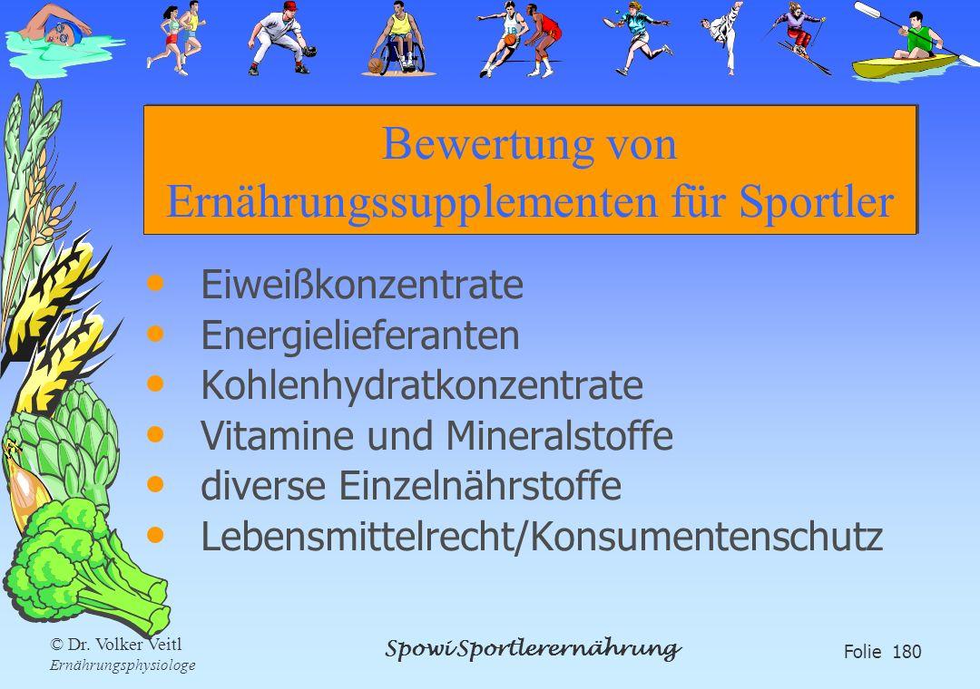 Spowi Sportlerernährung Folie 180 © Dr. Volker Veitl Ernährungsphysiologe Bewertung von Ernährungssupplementen für Sportler Eiweißkonzentrate Energiel