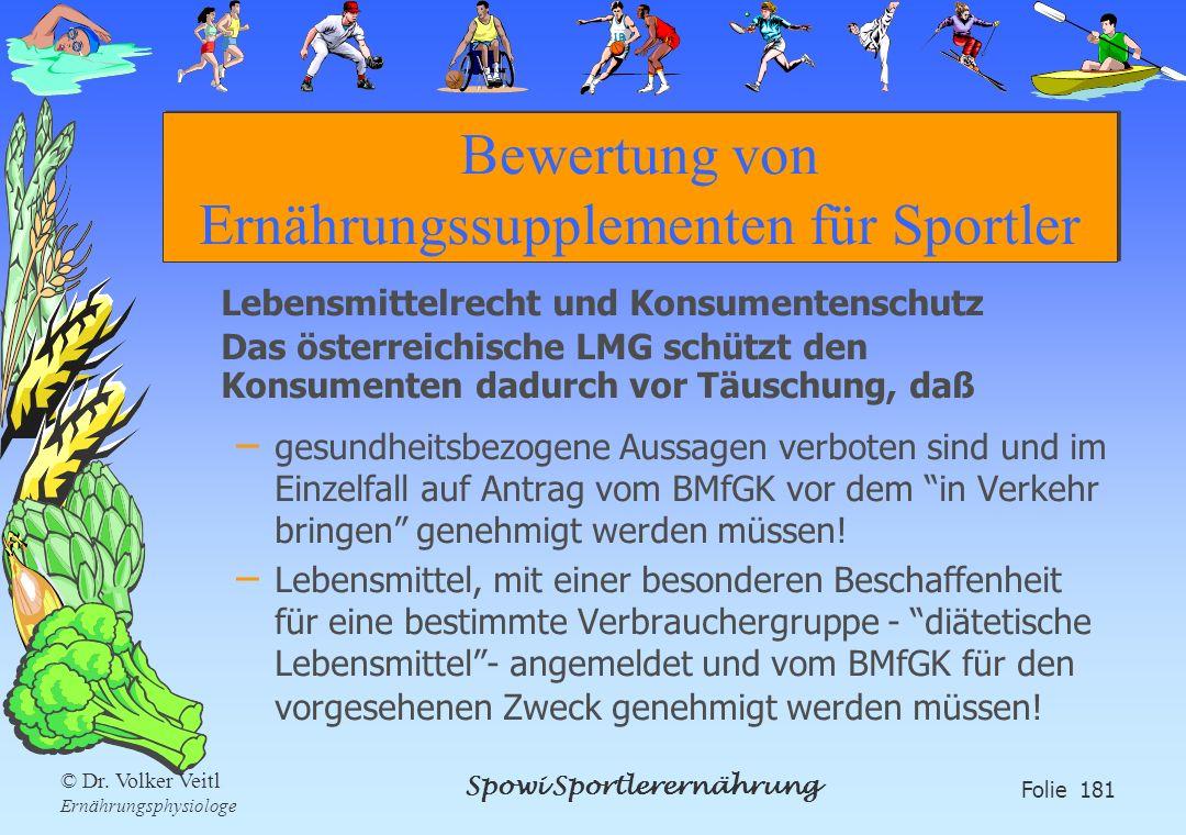 Spowi Sportlerernährung Folie 181 © Dr. Volker Veitl Ernährungsphysiologe Bewertung von Ernährungssupplementen für Sportler Lebensmittelrecht und Kons