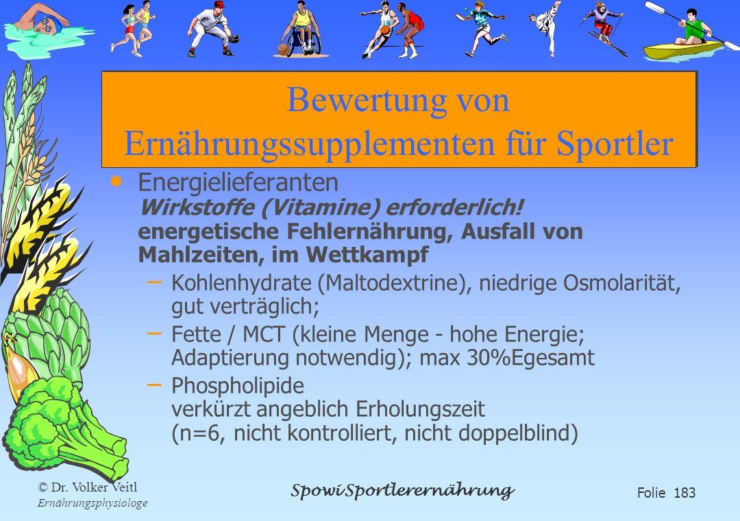 Spowi Sportlerernährung Folie 183 © Dr. Volker Veitl Ernährungsphysiologe Bewertung von Ernährungssupplementen für Sportler Energielieferanten Wirksto
