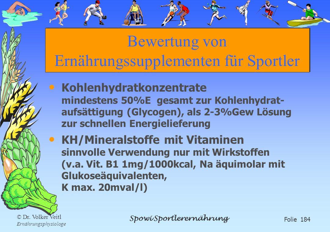 Spowi Sportlerernährung Folie 184 © Dr. Volker Veitl Ernährungsphysiologe Bewertung von Ernährungssupplementen für Sportler Kohlenhydratkonzentrate mi