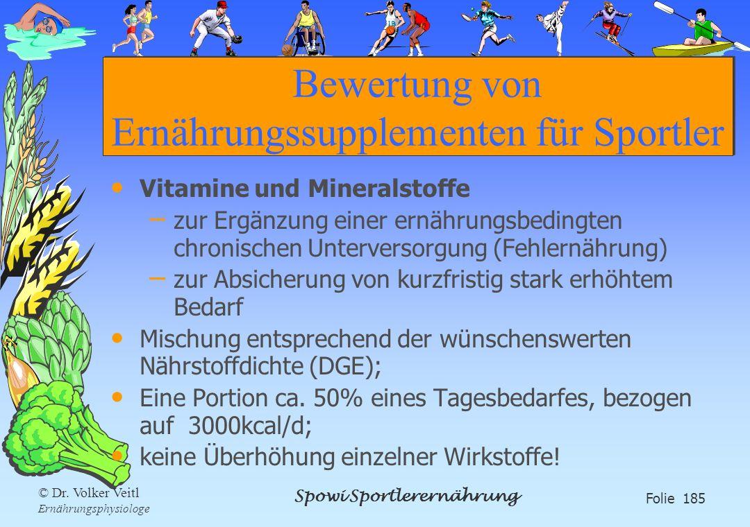 Spowi Sportlerernährung Folie 185 © Dr. Volker Veitl Ernährungsphysiologe Bewertung von Ernährungssupplementen für Sportler Vitamine und Mineralstoffe