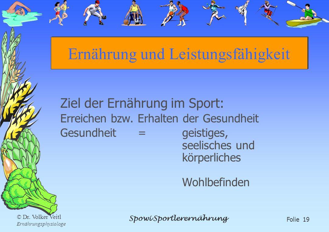 Spowi Sportlerernährung Folie 19 © Dr. Volker Veitl Ernährungsphysiologe Ernährung und Leistungsfähigkeit Ziel der Ernährung im Sport: Erreichen bzw.