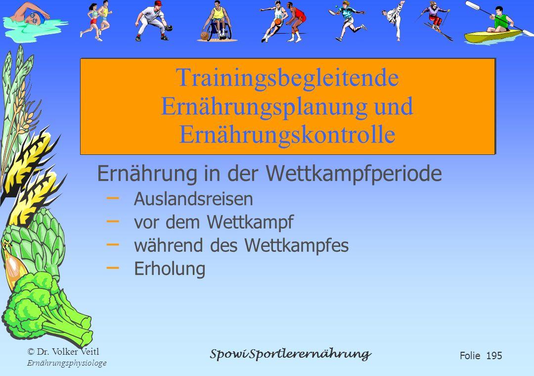 Spowi Sportlerernährung Folie 195 © Dr. Volker Veitl Ernährungsphysiologe Trainingsbegleitende Ernährungsplanung und Ernährungskontrolle Ernährung in